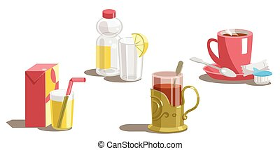 Set of drinks on a white background. Vector