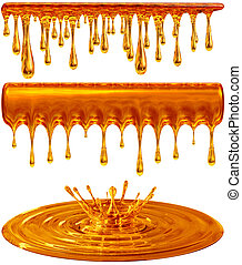 dripping and splash golden honey or caramel - set of...