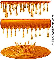 dripping and splash golden honey or caramel - set of...