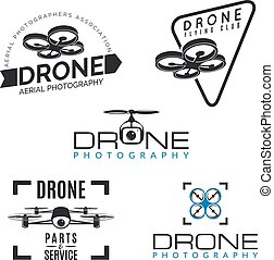 Set of drone logos, badges and design elements. Quadrocopter...