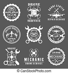 Set of drone logos, badges, emblems and design elements.