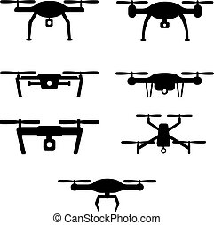 Set of drones - Quadcopter and flying drone icons on white...