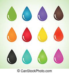 Set of drops different colors. Vector design eps10.