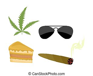 Set of drugs. Accessories addict. Marijuana and cannabis. Sunglasses and a piece of cake. Vector illustration