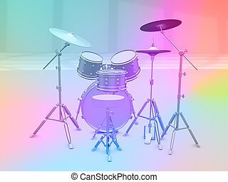 Set of drums on a colored rainbow background