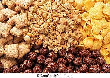 Set of dry cereal flakes for Breakfast with milk and berries. Healthy natural food. Background Close Up