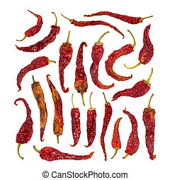 Set of dry chili pepper isolated on white.