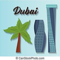 set of dubai city elements