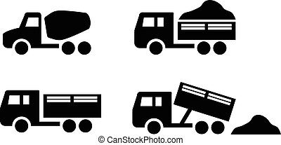 Set of Dumper and concrete mixer truck icons, vector