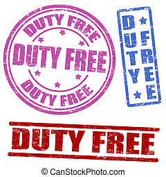 Set of duty free stamps