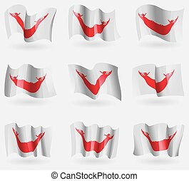 Set of Eaaster Rapa Nui flags in the air. Vector...