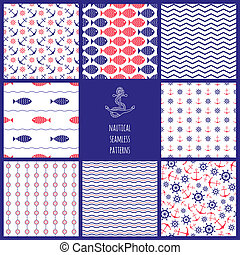 Set of eamless nautical patterns - Set of seamless nautical...