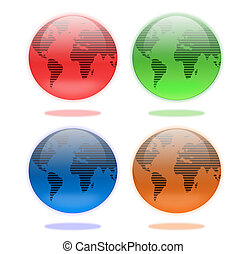 Set of Earth Globes in Four Colors
