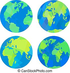 Set of earth globes.