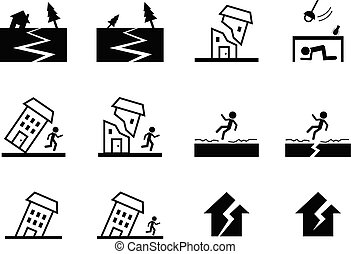 Set of earthquake icon in vector art design