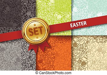 Set of easter backgrounds with doodle icons in different colors
