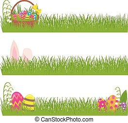 Set of Easter banners grass and Eas - Stock vector...