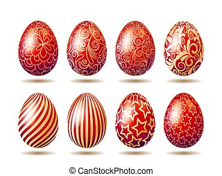 Set of Easter bright red eggs with golden ornament