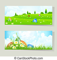 Set of Easter Cards with Eggs