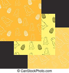 Set of easter chick patterns. vector illustration. Drawing by hand.