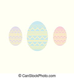 Set of easter color eggs on yellow background