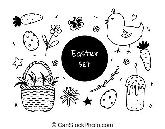Set of Easter doodles with cute chick, Easter eggs in a basket and Easter cake