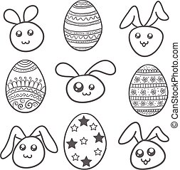 Set of easter egg and bunny
