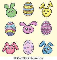 Set of easter egg and easter bunny