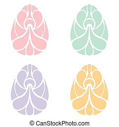 Set of Easter egg art on white background
