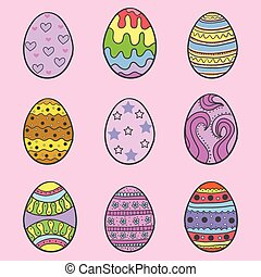 Set of easter egg style doodles