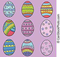 Set of easter egg various style