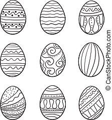 Set of easter egg vector art doodles