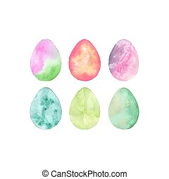 Set of Easter egg. Vector illustration of watercolor eggs with ombre effect. Easter decorative element.