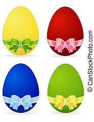 set of Easter egg with bow