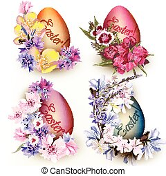 Set of Easter eggs decorated by flo