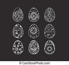 set of easter eggs doodle decorated
