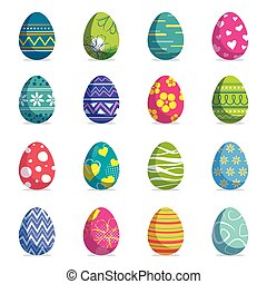 Set of easter eggs isolated background. Vector modern new design with different colors and patterns.