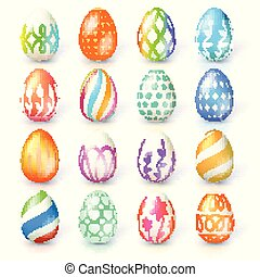 Set of Easter eggs isolated on white background. Hand made collection of Easter eggs with different textures and paintings. Realistic icons for spring, seasonal holidays.