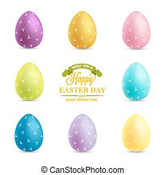 Set of easter eggs isolated on white background