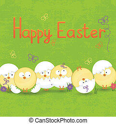set of Easter eggs on a green background
