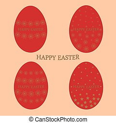 Set of Easter eggs red1