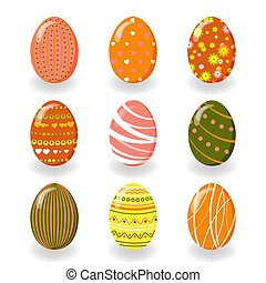 Set of Easter eggs. Vector illustration.