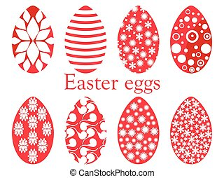 Set of Easter eggs with a pattern. Vector illustration