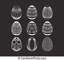 set of Easter eggs with ornament