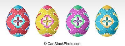 Set of  Easter Eggs with pattern.