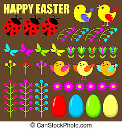 Set of easter eggs,animals and flowers.