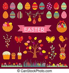 Set of Easter flat elements.