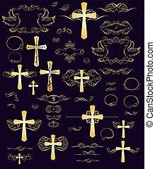 Set of easter golden vintage design
