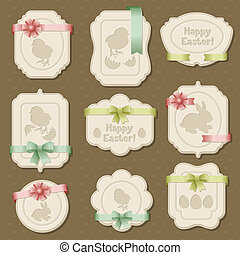 Set of Easter labels, tags with bows and ribbons.