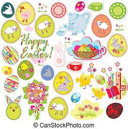 Set of easter labels